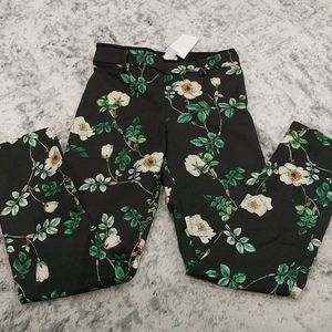 H&M Flowered stretch Dress pants with ankle slits
